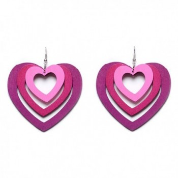 New Trendy Statement Multilayer Woody Heart Shape Gradient Color Earrings for Women's Accessories - CQ17AAZNH4E