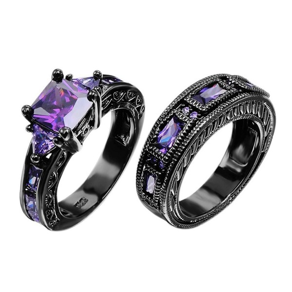 European Style Amethyst Two Pieces Promise Rings for Couples Black Gold Plated Women Sz-6 & Men Sz-9 - CC127AKLAN3