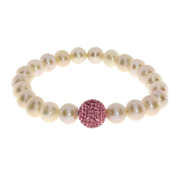 Pearl Freshwater Dyed Pink Cultured Stretch Bracelet with 12mm Pink Crystal Ball - CZ12N1SZBHK