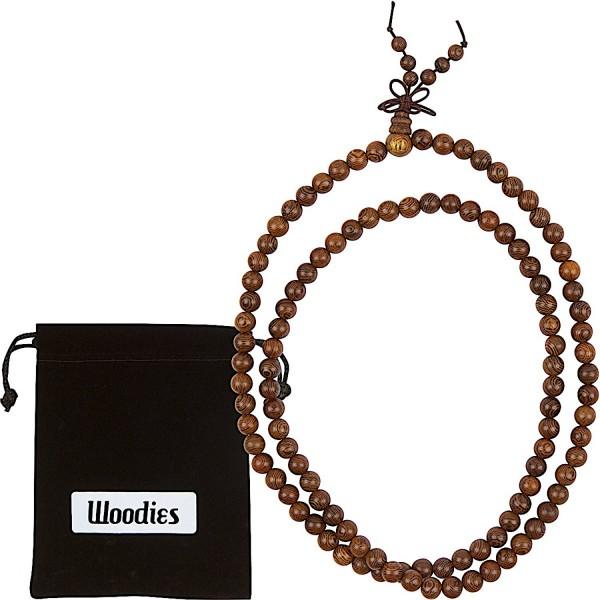 WOODIES Walnut Wood Bead Necklace - C712N29LWFB