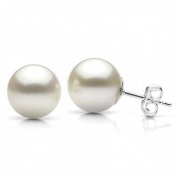 Sterling Silver 12mm White Round Simulated Shell Pearl Stud Earrings - CC124DL0LWP