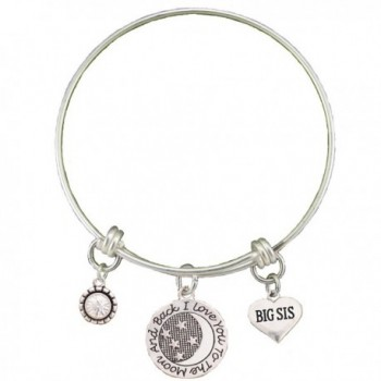 Big Sis Love You To The Moon Silver Wire Adjustable Bracelet Sister Jewelry Gift - CO12BC1L05L