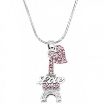 Small Crystal Eiffel Tower Paris France Lover Pendant Necklace with Heart Charm - Pink - C8116WFP88N