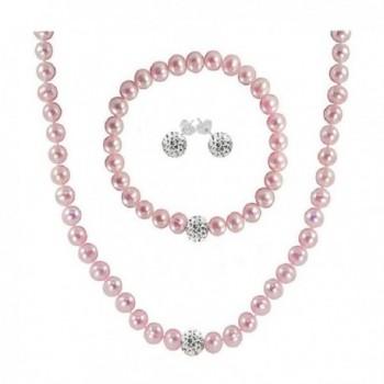 Regalia Cultured Freshwater Pearl Jewelry Set in Rhodium Plated Silver. Assembled in the U.S.A. - Pink - CV12N9M441C