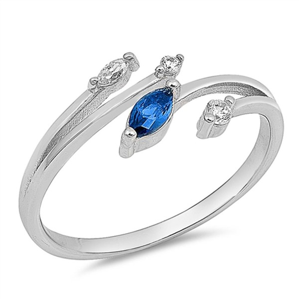 Marquise Blue Simulated Sapphire Open Bar Ring New .925 Sterling Silver Band Sizes 4-10 - CO182YLQAMT