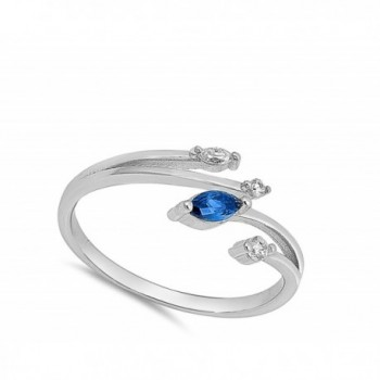 Marquise Simulated Sapphire Sterling Silver