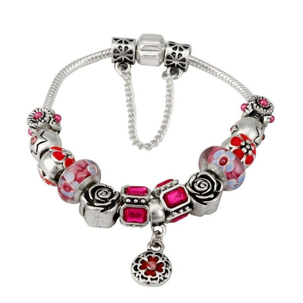 ARINLA Elegant Flowers Beads Braclet Bangle Gift Jewelry - Red - CM187WL56XX