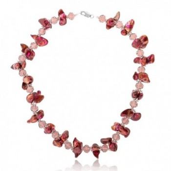 "Red Twist Cultured Freshwater Pearl and Crystal Necklace 18"" With Lobster Clasp - C6117IN0GTJ"
