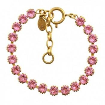 "Catherine Popesco Round Tennis Bracelet- La Vie Parisienne Gold Plated- 8"" 1694G SILS - Light Rose - CN187WXUKGH"