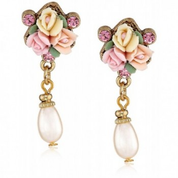 1928 Jewelry Gold-Tone Crystal Pink Porcelain Rose Simulated Pearl Drop Earrings - CX11OVEZBOX