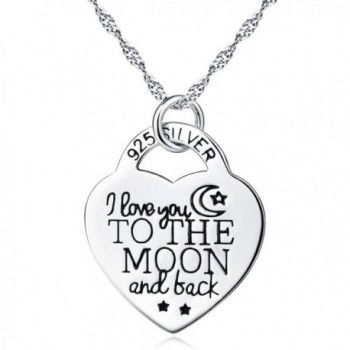 "925 Silver ""I Love U 2 The Moon and Back"" diamond Cut Crystal Circle with Heart Pendant Necklace- 18"" - CF120P0F7ZJ"