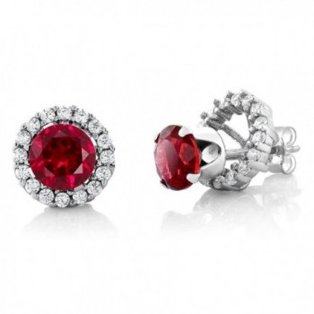 2.00 Ct Round 6mm Red Created Ruby 925 Silver Removable Jacket Stud Earrings - CY11IX8M2BX