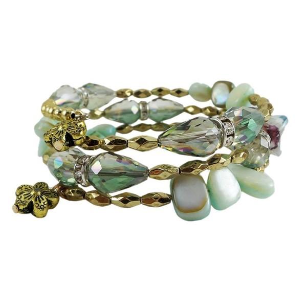 Memory Wire Wrap Bangle - Mint Green Gold - CE121F9Q82F