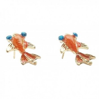 Pair of Goldfish Earrings Orange Red Fashion Jewelry - C511BU1T27H