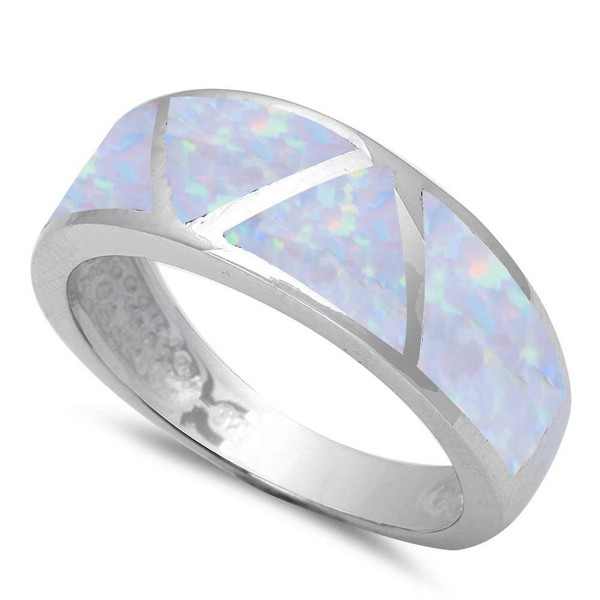 Sterling Silver Lab Created White Opal Fashion Band Ring Sizes 5-10 - CX183CMEX9E