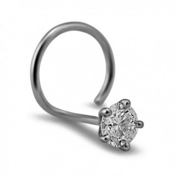 1.5mm Round-Cut-Diamond and 18K White Gold Nose Ring/ Pin - CC12O0ENU3S