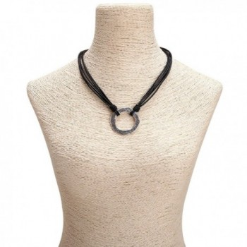 Yunhan Pearls Alloy Clasp Necklace Choker Pendant with Genuine Leather Cord for Women 16.5'' - Black - C912GG7DHVB