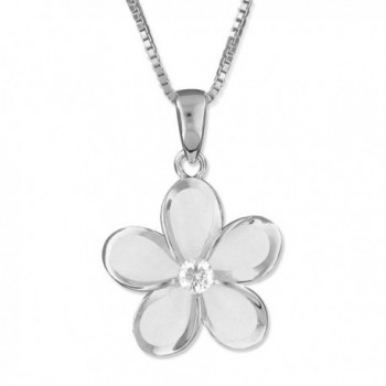 "Sterling Silver 15mm Plumeria Pendant Necklace- 16+2"" Extender - CX11FZUMJLZ"