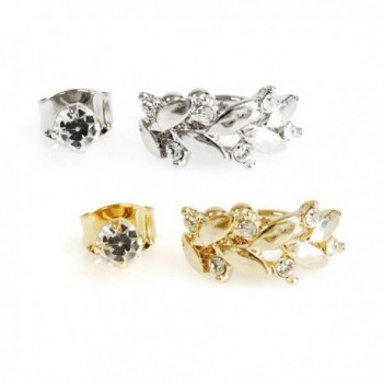2 Pairs Gold Silver Carved Leaf Crystal Non Piercing Ear Cuff and Cubic Stud Earring Set - Silver & Gold - CL1872DTWQ9