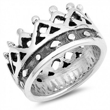 Wide Large King Crown Wholesale Ring New .925 Sterling Silver Band Sizes 6-9 - CI12NVXNRSY