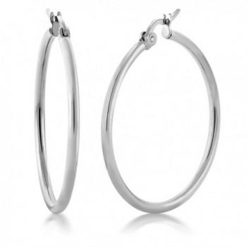 1.25 Inch Stunning Stainless Steel Hoop Earrings (30mm Diameter) - CM11G4NKSGP