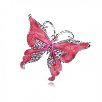 Alilang Silvery Tone Dark Pink Rhinestones Glitter Butterfly Insect Brooch Pin - C6113T2IQ8V