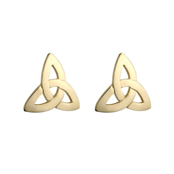 Trinity Knot Earrings Gold Plated Studs Irish Made - C9116D5G0HF