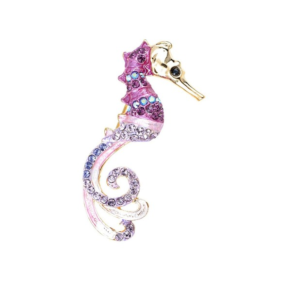 Alilang Womens Golden Tone Purple Rhinestones Nautical Fantasy Pink Seahorse Broch Pin - CA1143SAS8Z
