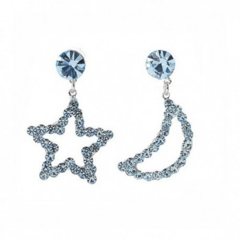 Glamorousky Star & Moon Earrings with Light Blue Austrian Element Crystals and CZ bead (795) - CL118SODWCP