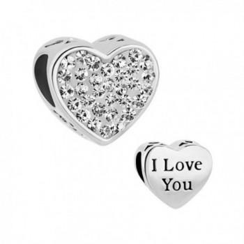 LuckyJewelry Heart I Love You Charms Swarovski element Birthstone Crystal Sale Cheap Beads Fit Bracelet - White - CB12JPY5ZY9