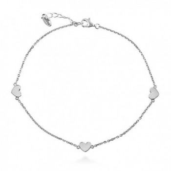 """BERRICLE Rhodium Plated Sterling Silver Heart Fashion Station Anklet 9""""+1"""" Extender - CF11SEHNKOB"""