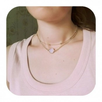 Layered Opal Pendant Necklaces Choker Necklaces Jewelry for Women Defiro - White - C3187TAYTC9
