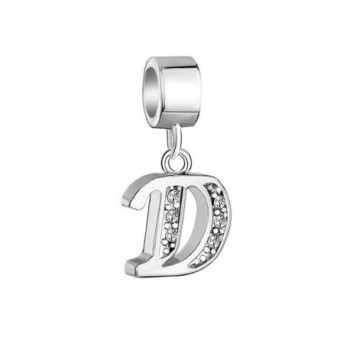 DemiJewelry Letter Charms Initial A-Z Dangle Alphabet Sterling Silver Bead - CA17YOXK42M