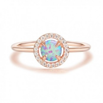 PAVOI 14K Gold Plated CZ and Created Opal Ring - Rose - C3183QD96XS