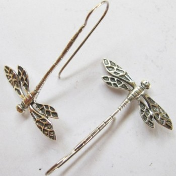 925 WEIGHT 2.90 G. BEAUTIFUL THAI STERLING SILVER DRAGONFLY EARRING BY HAND MADE - C111ZH00ROJ