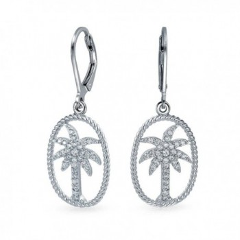 Bling Jewelry CZ Palm Tree Twisted Rope Oval Sterling Silver Leverback Drop Earrings - C011BSKJR61