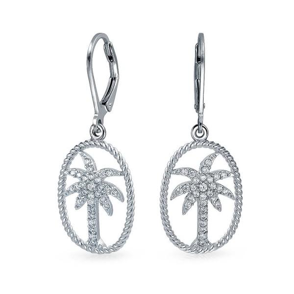 Bling Jewelry CZ Palm Tree Twisted Rope Oval Sterling Silver Leverback Drop Earrings - C011BSKJR61
