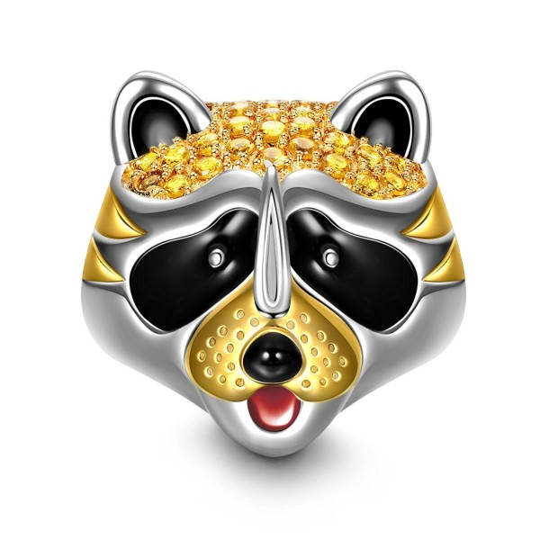 "NinaQueen ""Raccoon"" 925 Sterling Silver Gold Plated Enamel Animal Bead Charms-Happy Family - CC12O24LHG2"