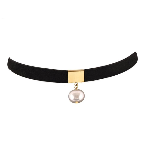 "Pusheng 3/8"" Black Suede Choker with Simulated Pearl - Black - C112MI0OTR1"