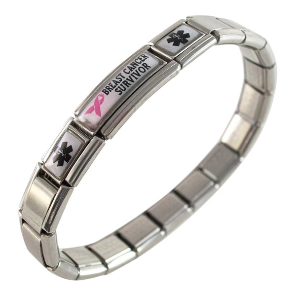 Breast Cancer Survivor Medical ID Alert Italian Charm Fashion Bracelet Awareness - CE11B9QV7UD