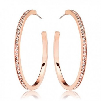 Eternity Rose Gold Plated Hoop Earrings with Clear Round Crystals - CW12E20WFB7