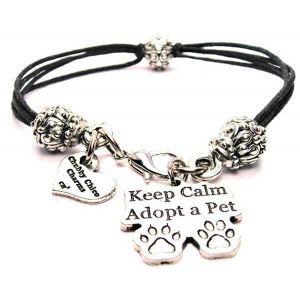"ChubbyChicoCharms Keep Calm Adopt a Pet- Pewter Beaded Black Waxed Cotton Cord Bracelet- 2.5"" - CV11FZFRLO5"