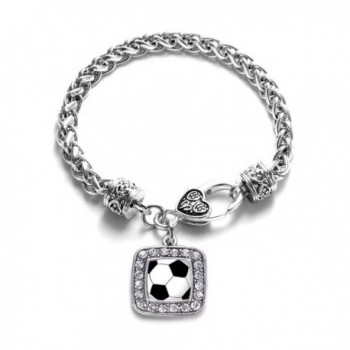 Soccer Player Lover Charm Classic Silver Plated Square Crystal Bracelet - C411LIB3J0P