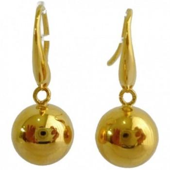 24k Yellow Gold Plated 10 mm Glitter Cute Round Shiny Ball Ornaments Dangle Earrings - CM17Z36UTA2