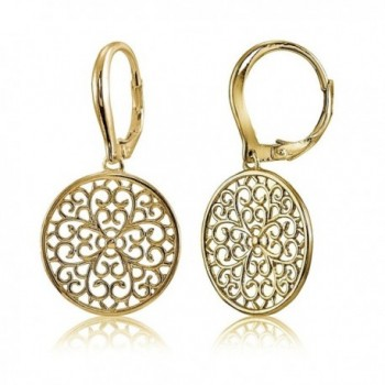 Sterling Silver High Polished Medallion Filigree Leverback Earrings - CX1822IL758