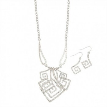 Silver Geometric Square Swirl Open Wire Necklace and Earring Set - CB11OFW7IPL