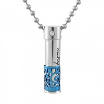 Bullet Only Love Cremation Pill Ash Urn Pendant Necklace Blue - CH126GD24PZ