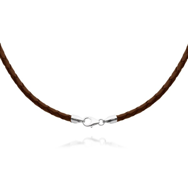 """4mm Brown Braided Leather Cord Necklace Choker with Solid 925 Sterling Silver Clasp 22"""" - CD115GM8LGT"""
