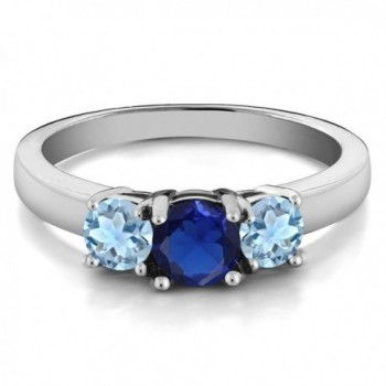 Simulated Sapphire Aquamarine Sterling Silver