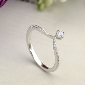 EVER FAITH Sterling Zirconia Princess in Women's Band Rings